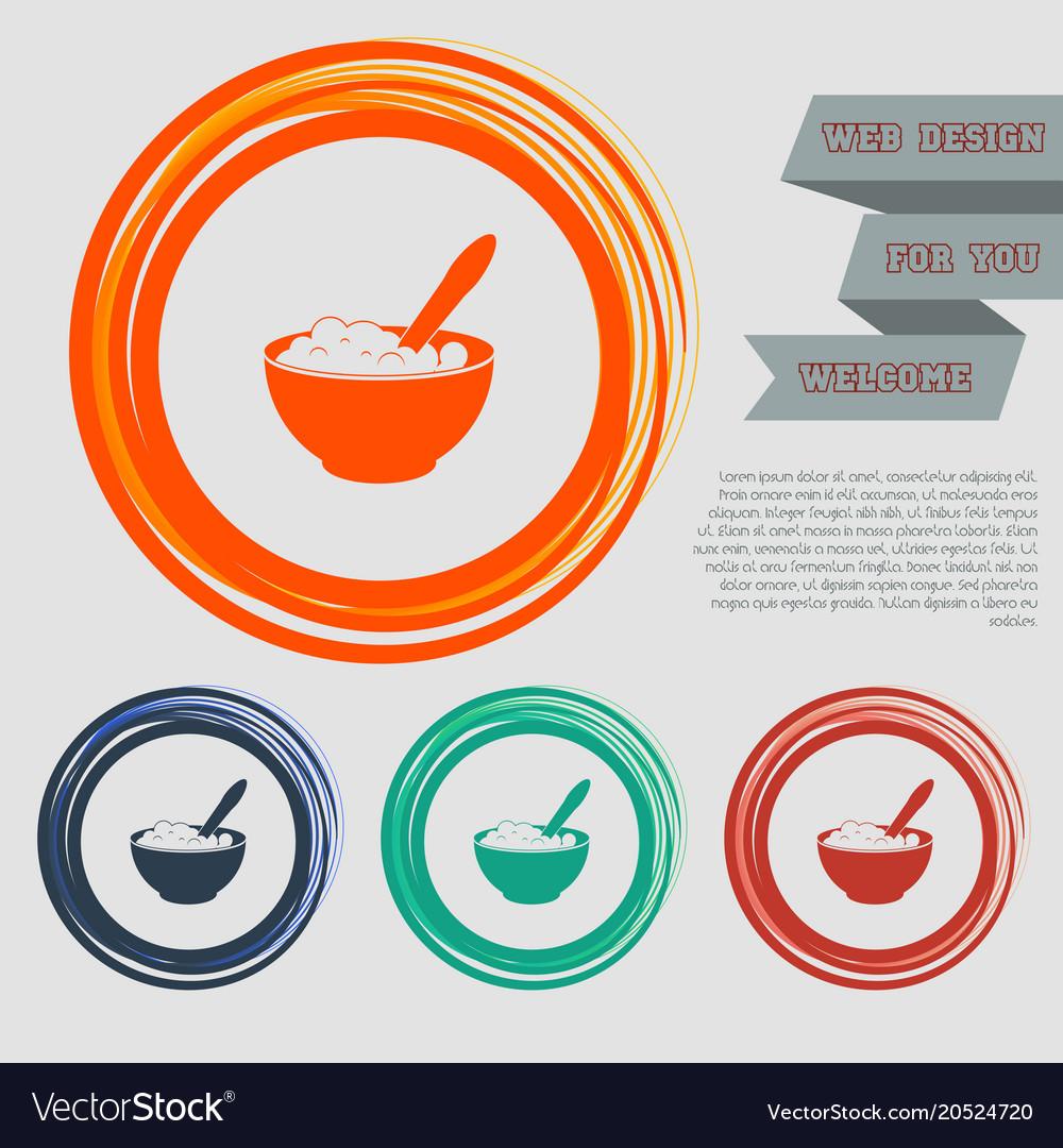Porridge icon on the red blue green orange