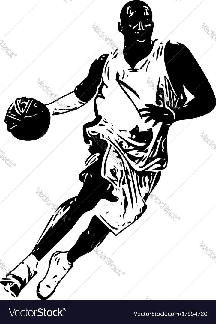sketch of basketball player royalty free vector image rh vectorstock com baseball player vector art free basketball player victor jackson