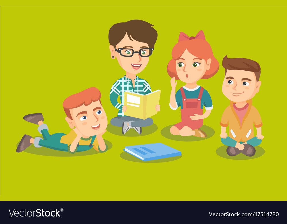 teacher reading a book for kids in kinder garden vector image - Kinder Garden