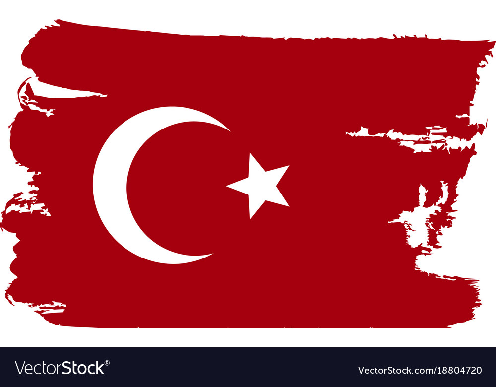 Turkey flag painted by brush hand paints art flag