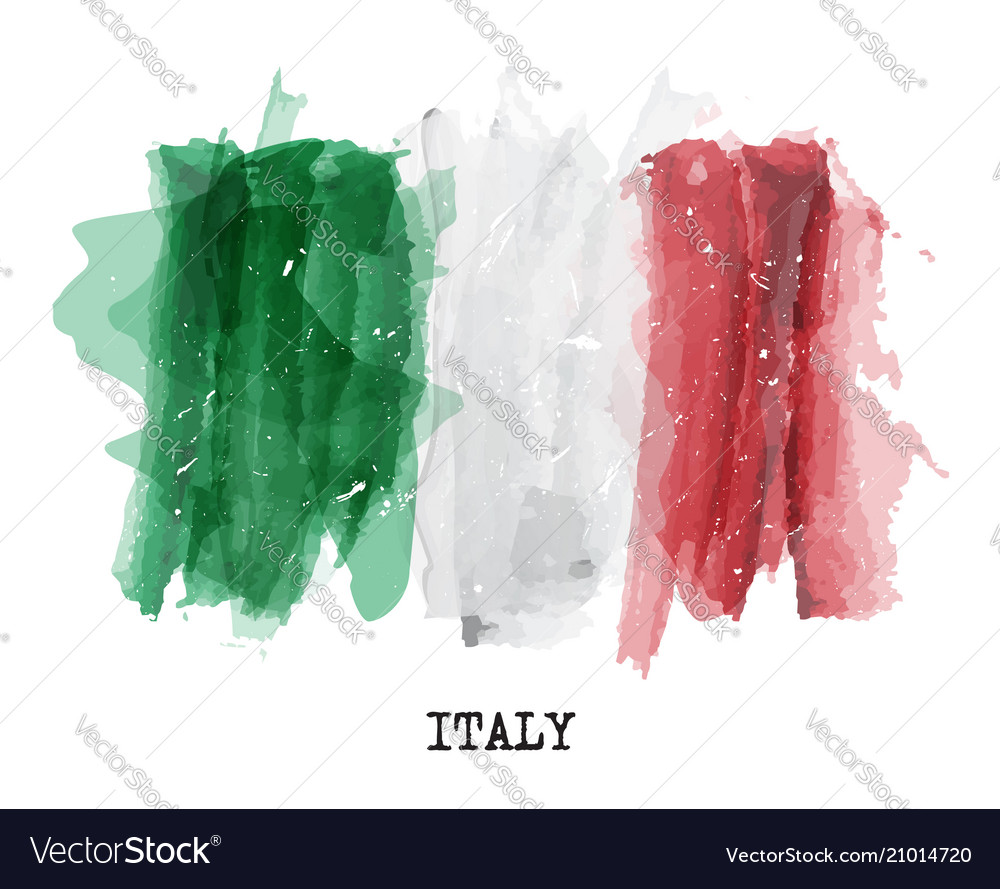 Watercolor painting flag of italy