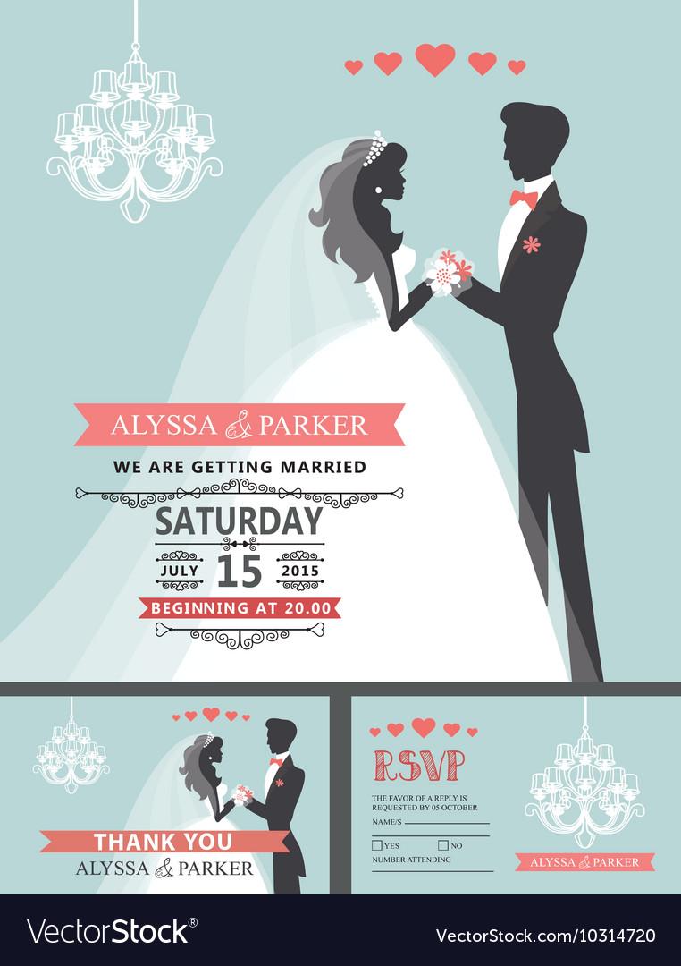 Wedding invitation with cartoon bridegroom