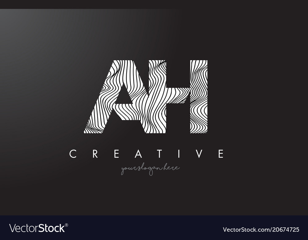 Ah a h letter logo with zebra lines texture