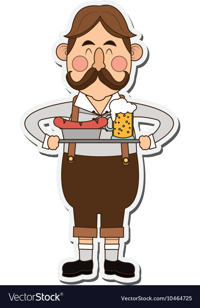 Bavarian man with beer and sausage icon