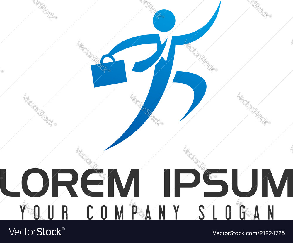 Businessman with bag logo design concept template