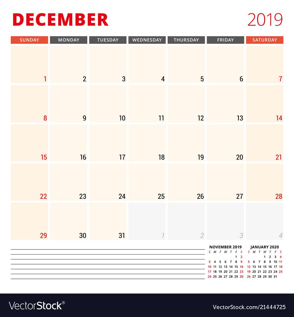 Calendar planner template for december 2019 week