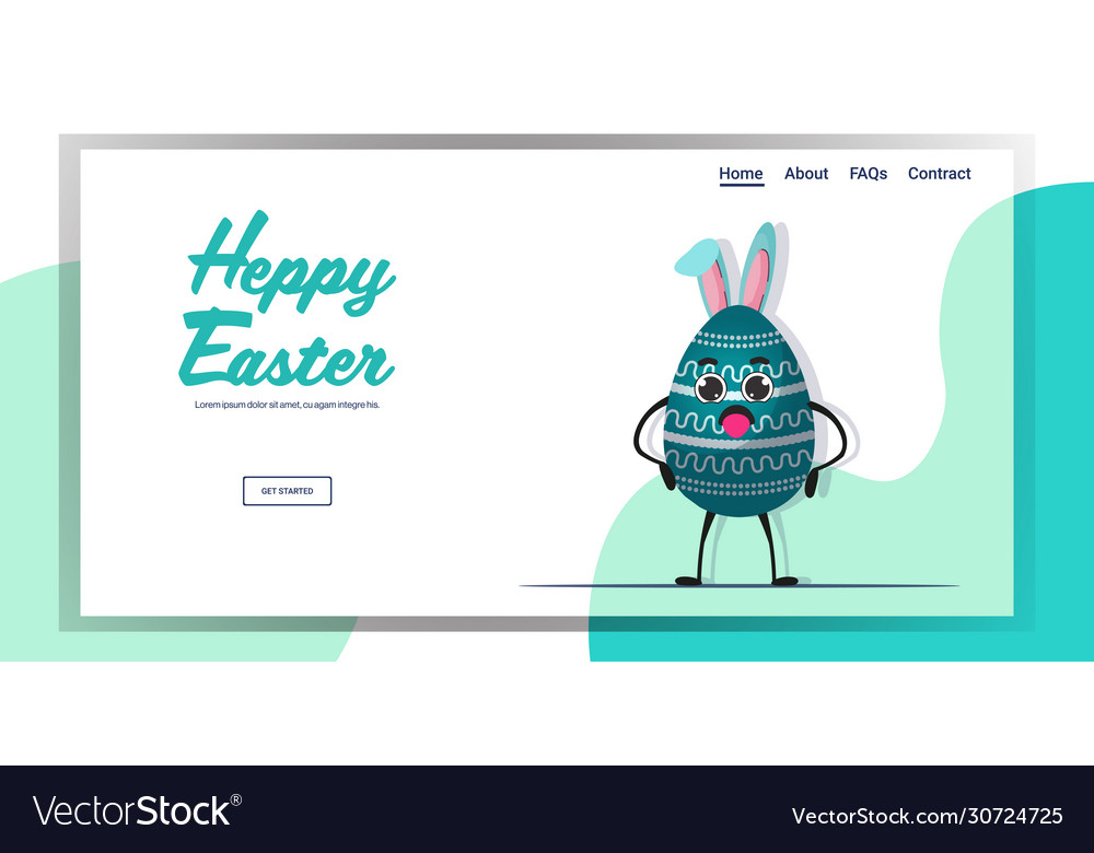 Cute decorated egg character with rabbit ears