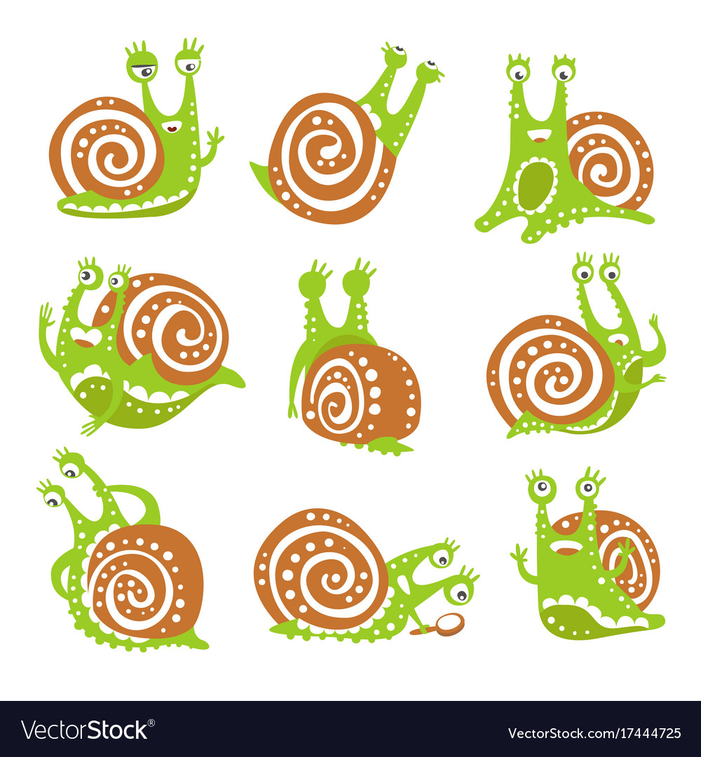 Cute snail character set funny mollusk with
