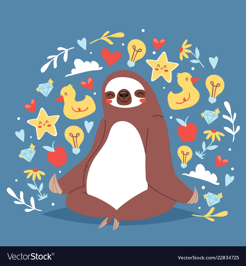 Funny sloth sitting in yoga lotus pose and