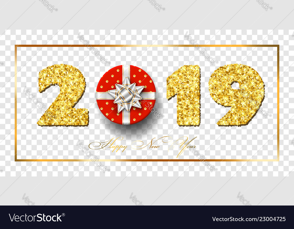 Happy new year card 3d red gift box ribbon bow