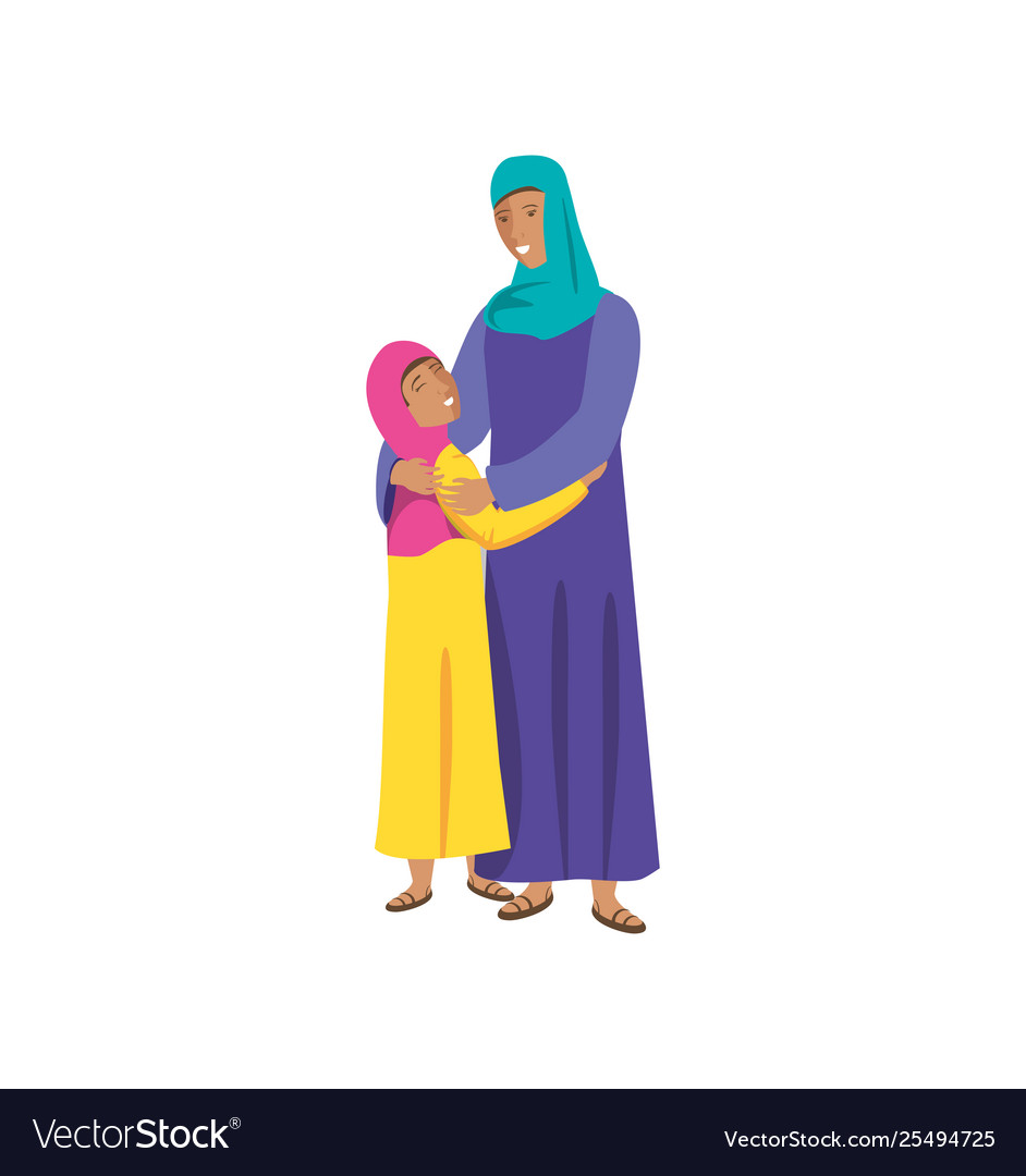Islamic mother with daughter characters