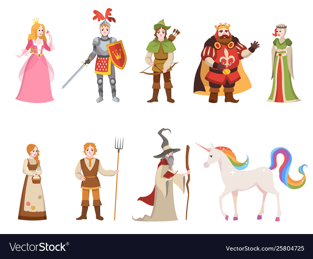 Medieval historical characters knight king queen