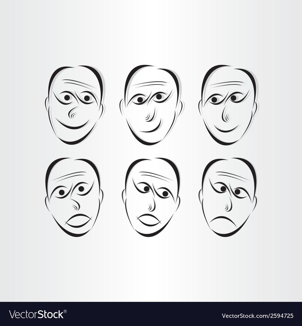 Men faces emotions symbols