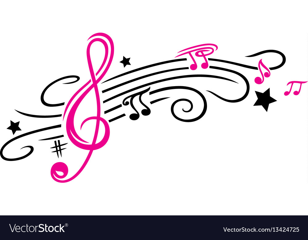 Music notes and clef