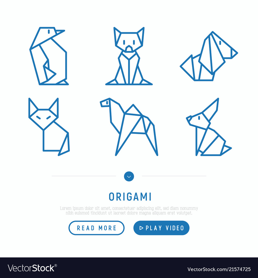Origami thin line icons set