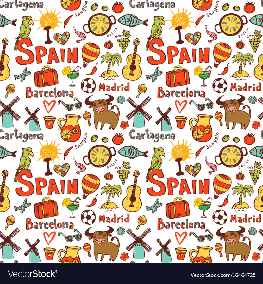 Seamless background with symbols of spain