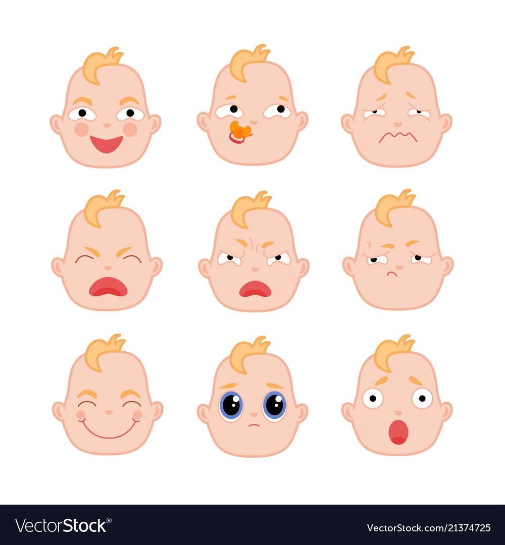 Set of flat baby faces showing different emotions