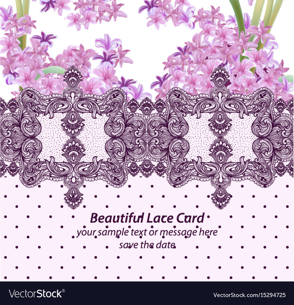 Summer flowers blossom lace card frame spring