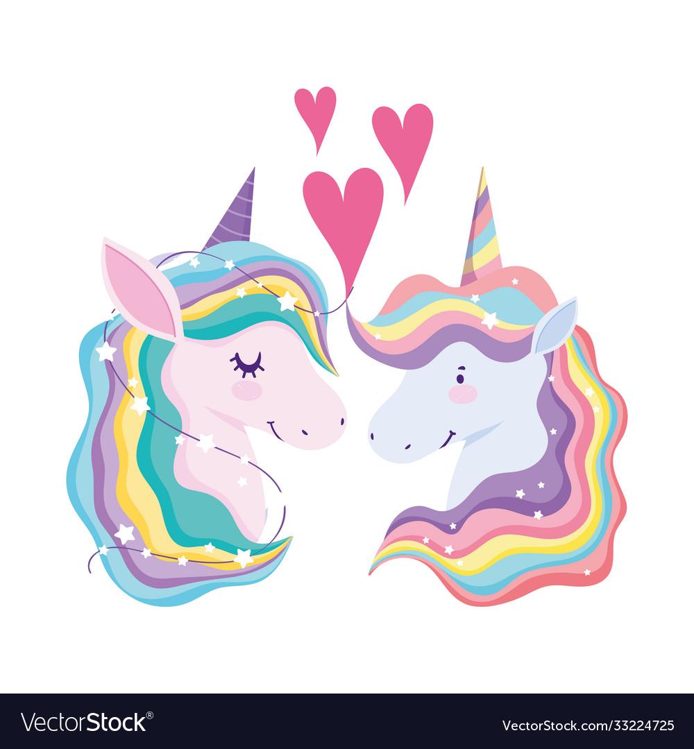 Unicorns rainbow hair animal fantasy love hearts