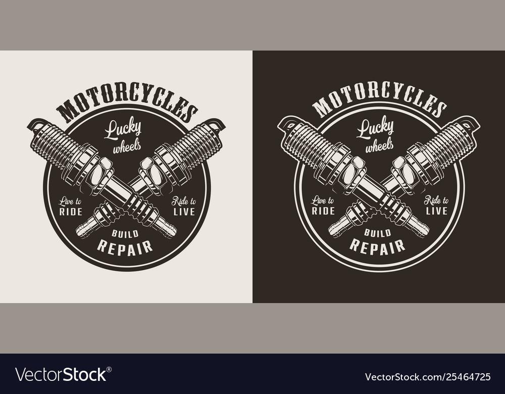 Vintage Motorcycle Repair Shop Round Logo Vector Image