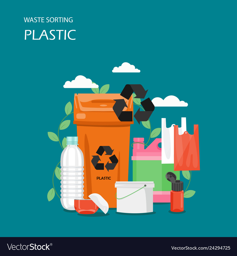 Waste plastic sorting flat style design