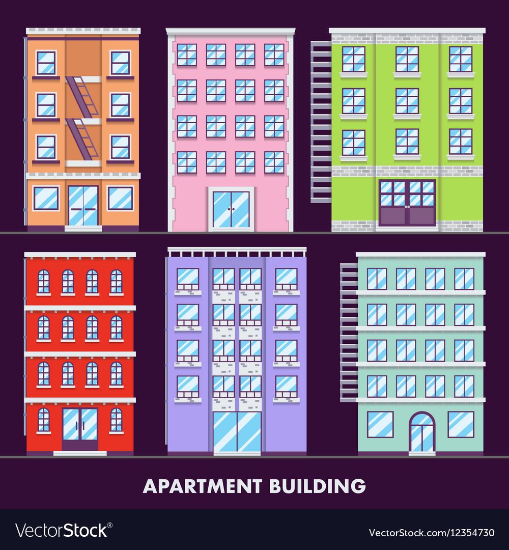 Apartment building flat design minimalist and full vector image