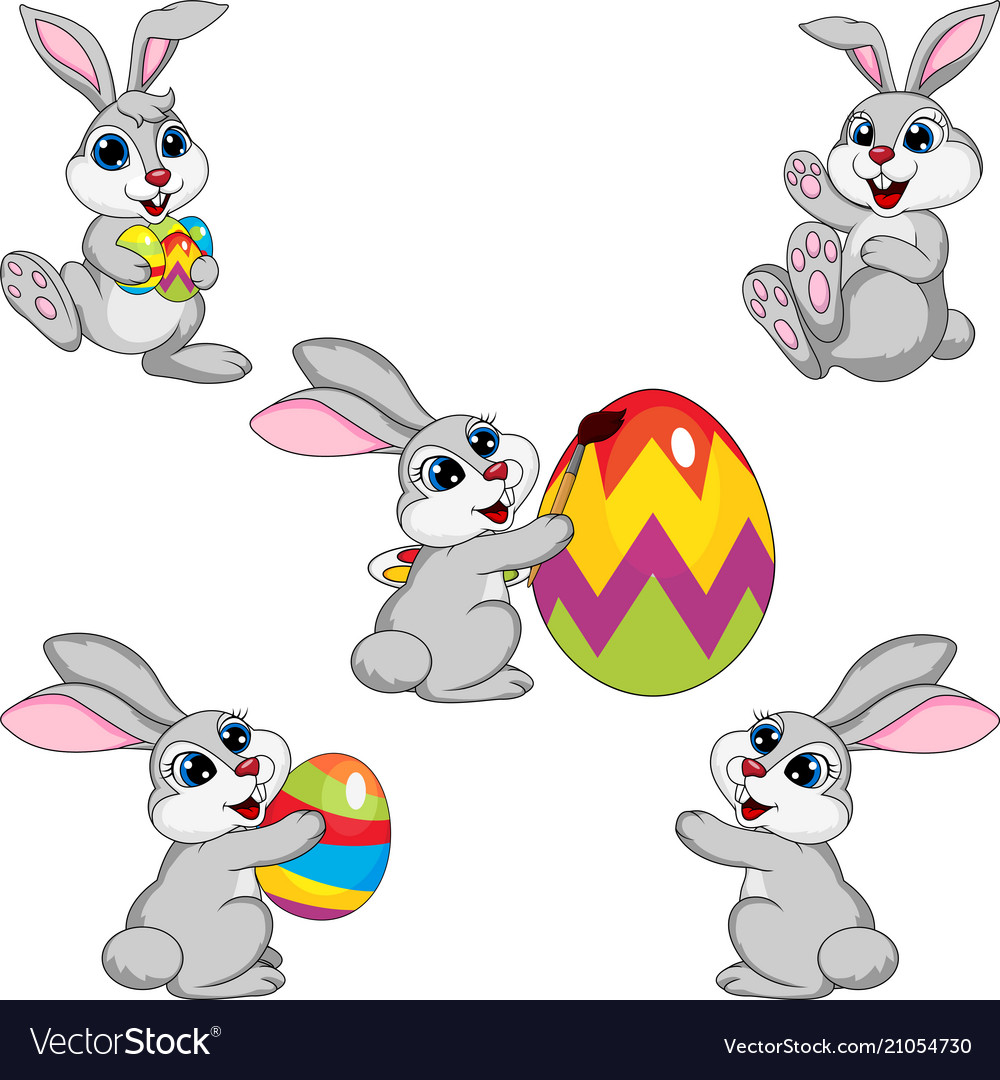 Cartoon rabbit easter collection set