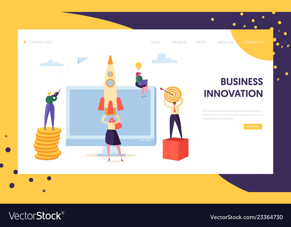 Creative business innovation startup landing page