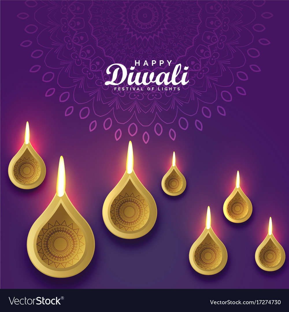 Diwali Greeting Card Design With Golden Diya Vector Image