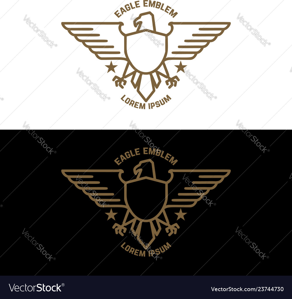 Emblem template with eagle in golden style design