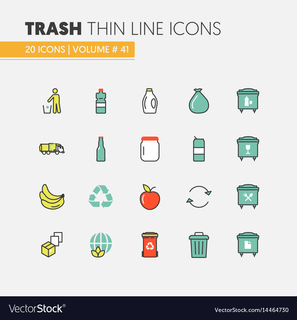 Garbage waste recycling linear thin line icons