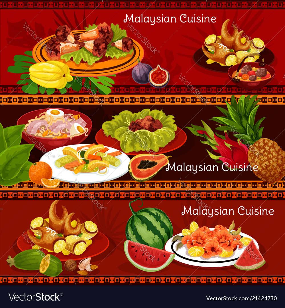 Malaysian cuisine banners with dinner dishes