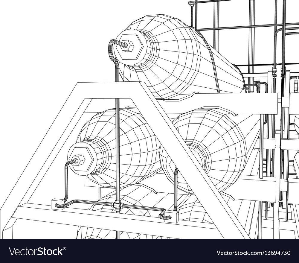 Outline oil and gas industrial equipment vector image
