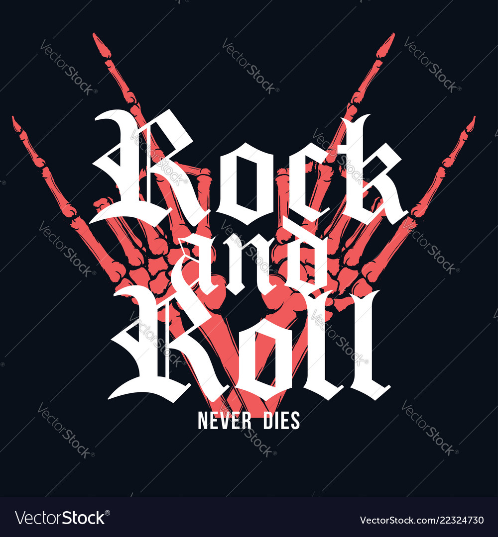 Rock and roll t-shirt design hand of skeleton