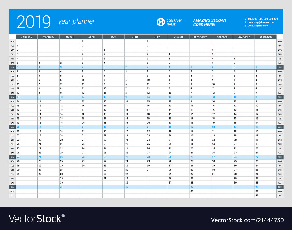 photo relating to Yearly Planner Template titled Per year wall calendar planner template for 2019 vector impression