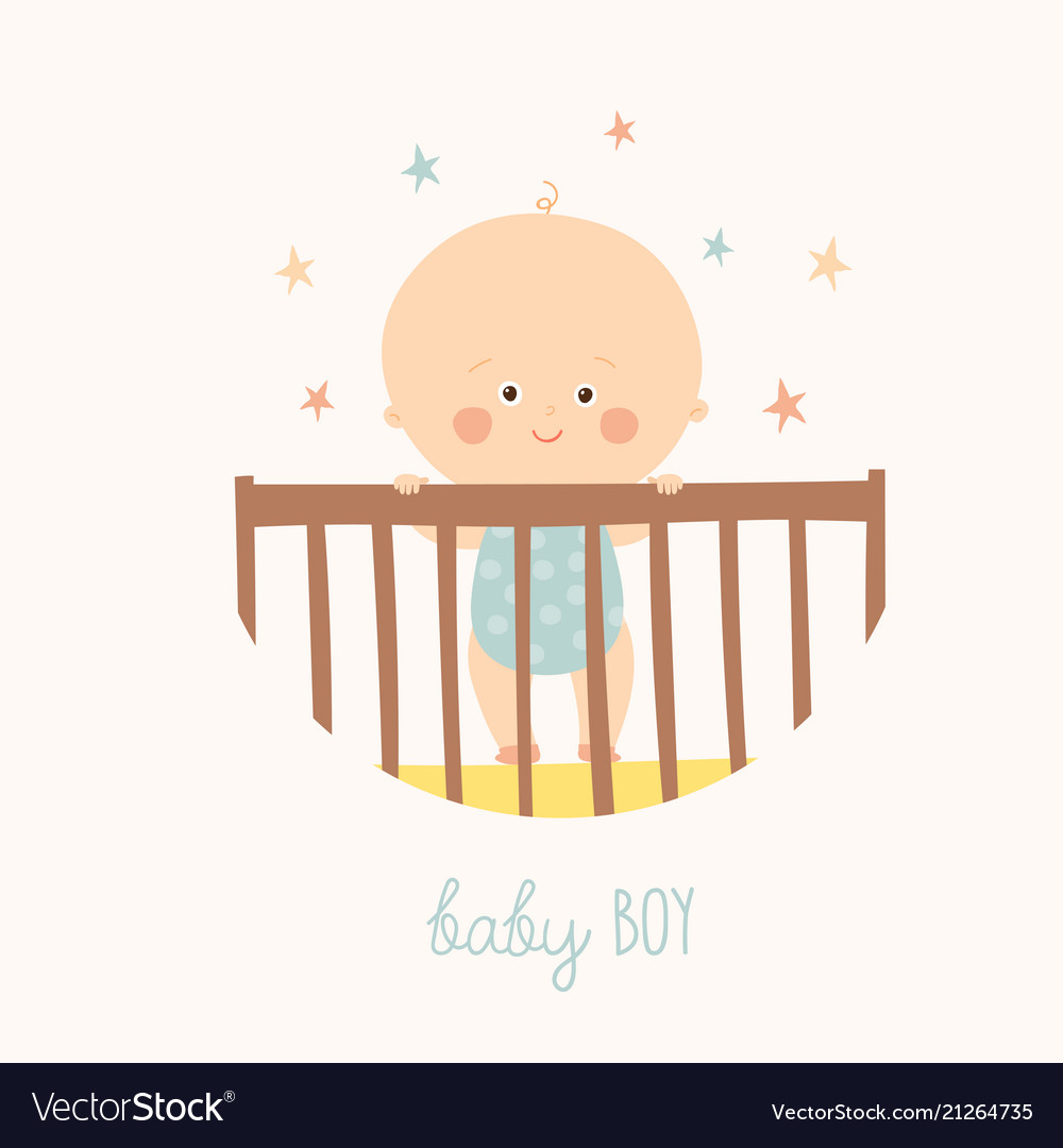 Cute baby 1 year old standing in crib baby shower