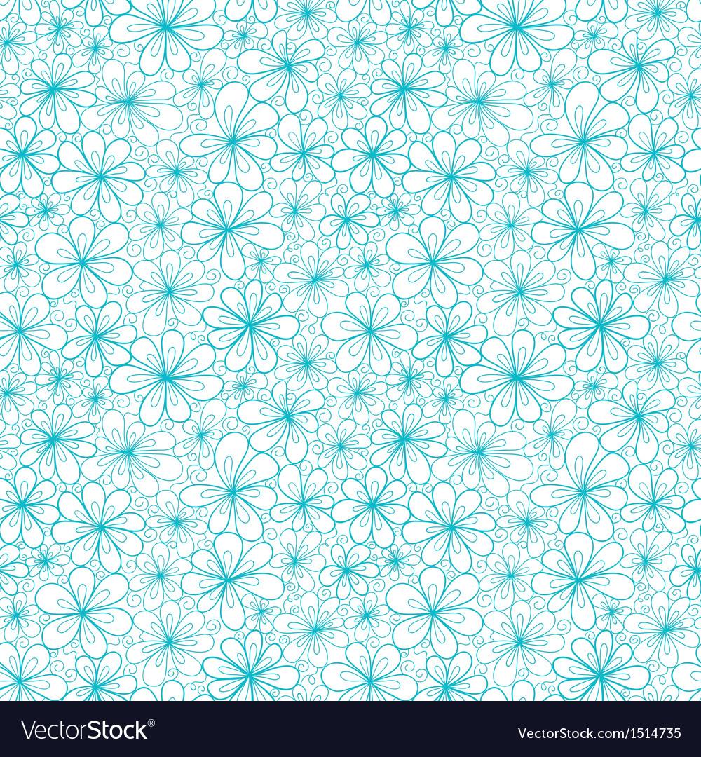 Doodle aquamarine flowers on transparent