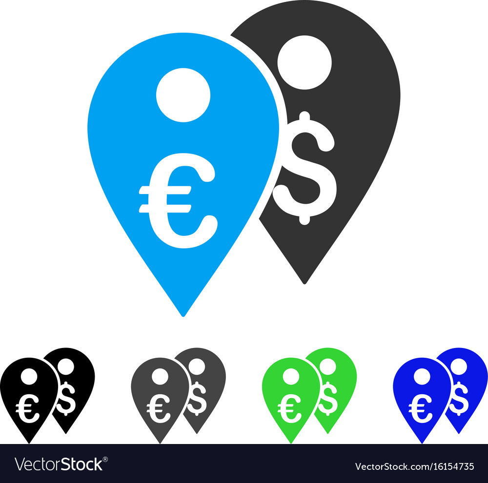 Euro and dollar map markers flat icon vector image