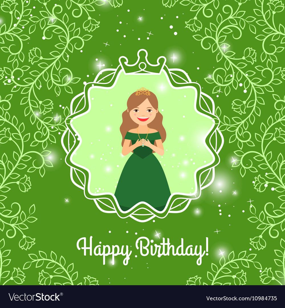 Happy Birthday greeting with princess vector image