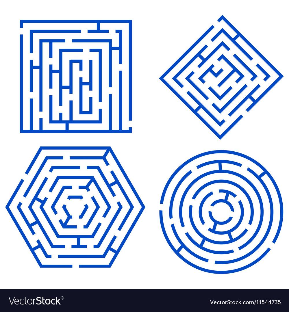 Labyrinth Set Different Shapes