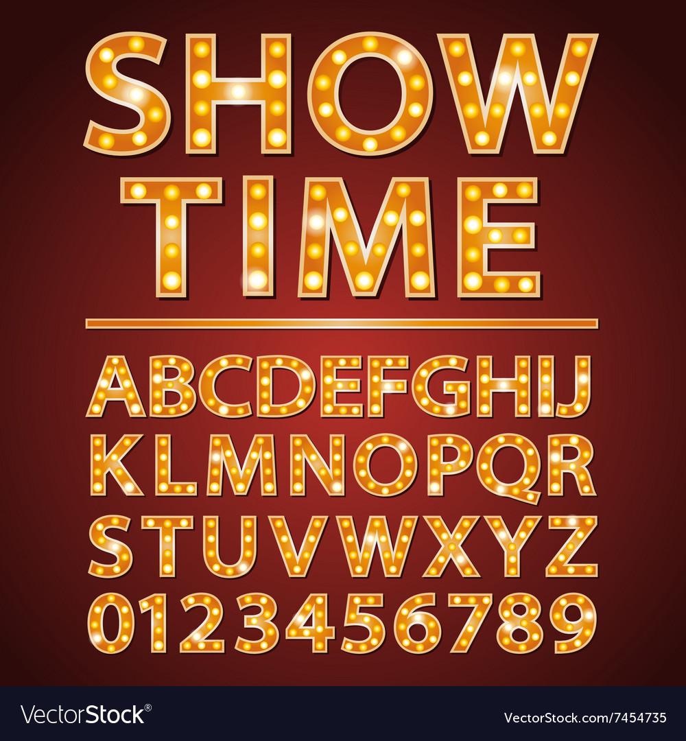 Orange neon lamp letters font show cinema