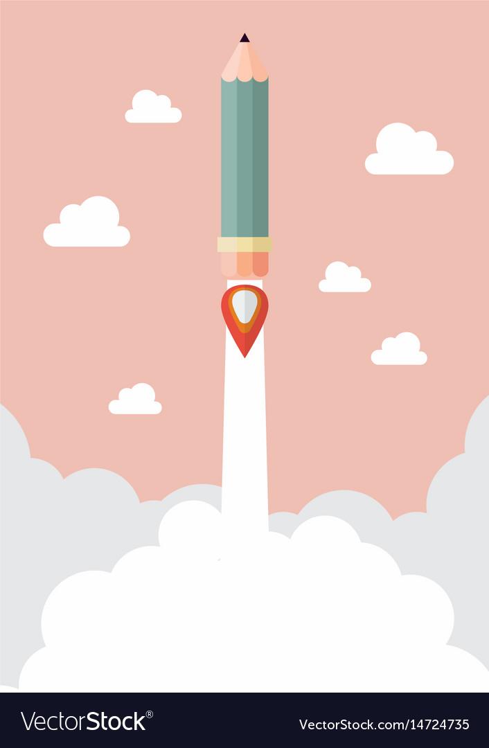 Pencil rocket launch vector image
