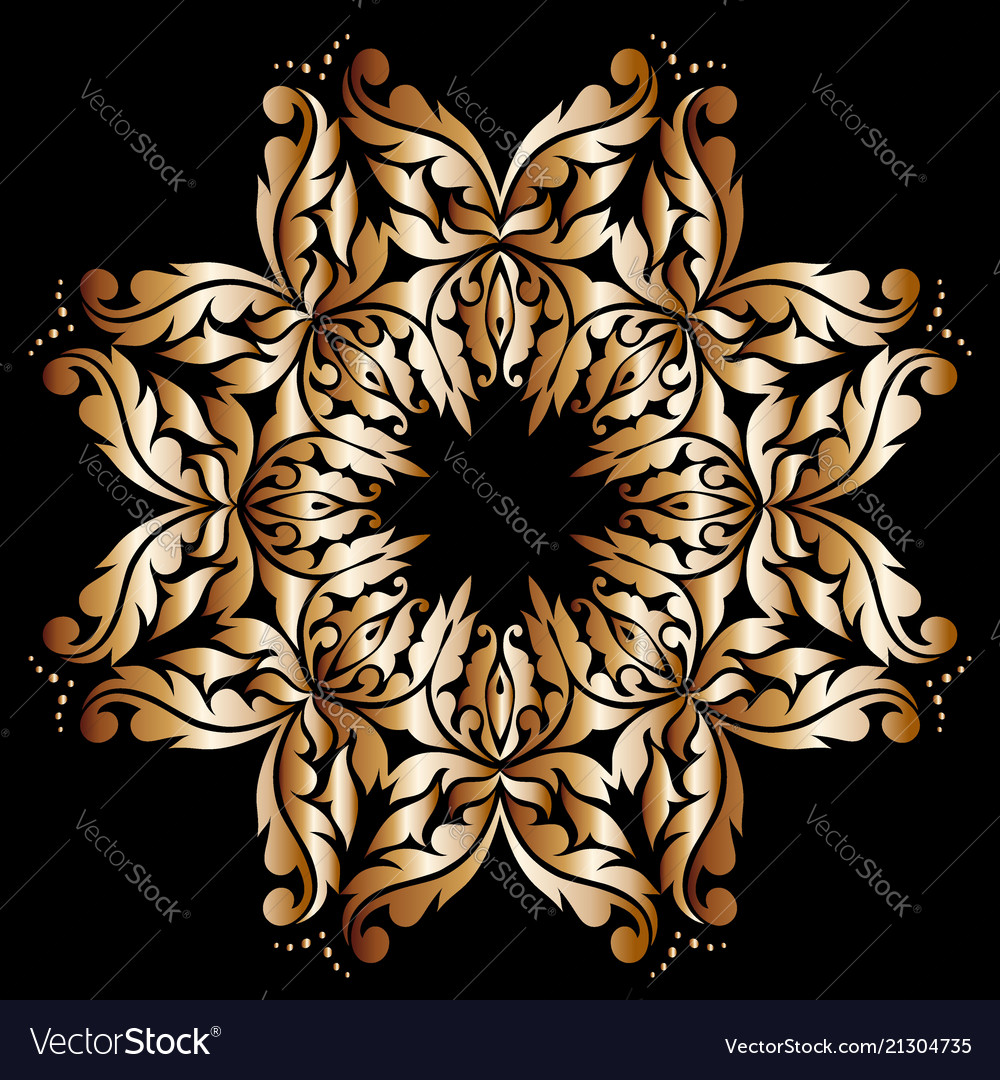 Round lace pattern in gold on a red background