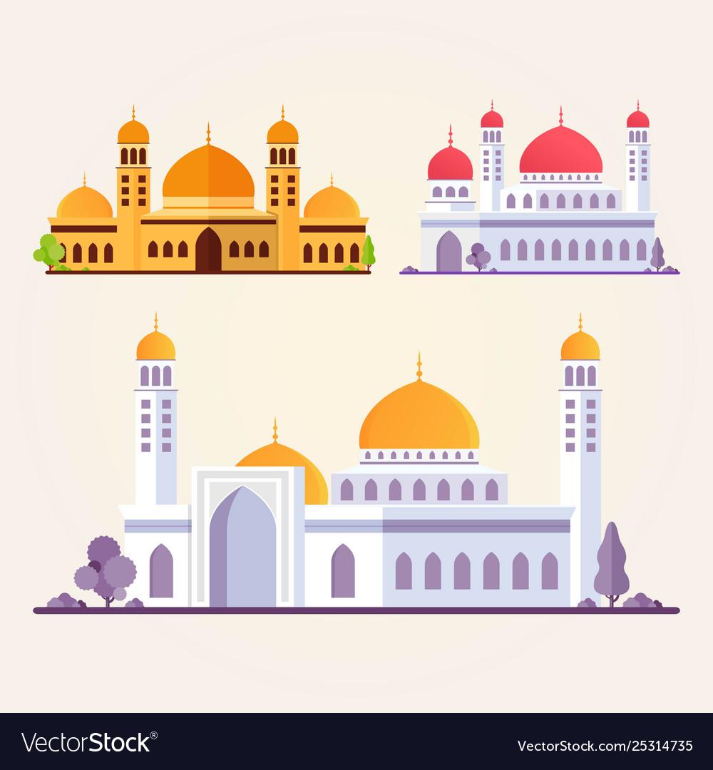 Set islamic mosque building flat
