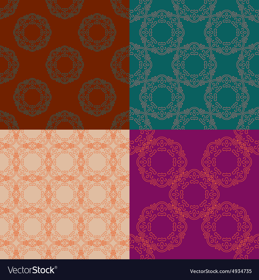 Set of four ornamental seamless pattern