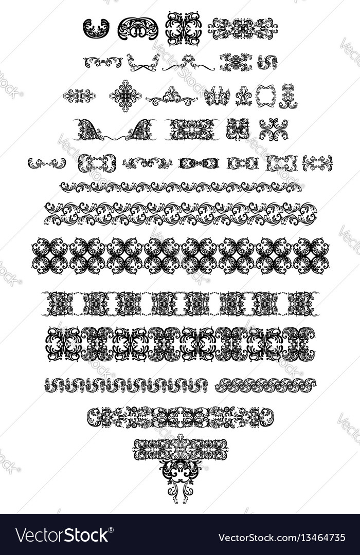Set of vintage decor vector image