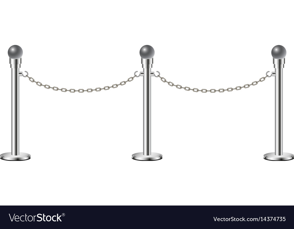 Stand chain barriers in silver design with chain vector image