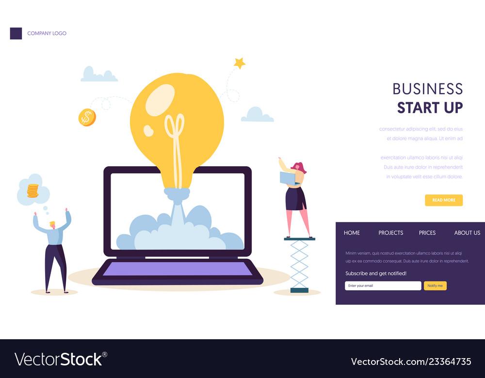 Startup creative idea start landing page template