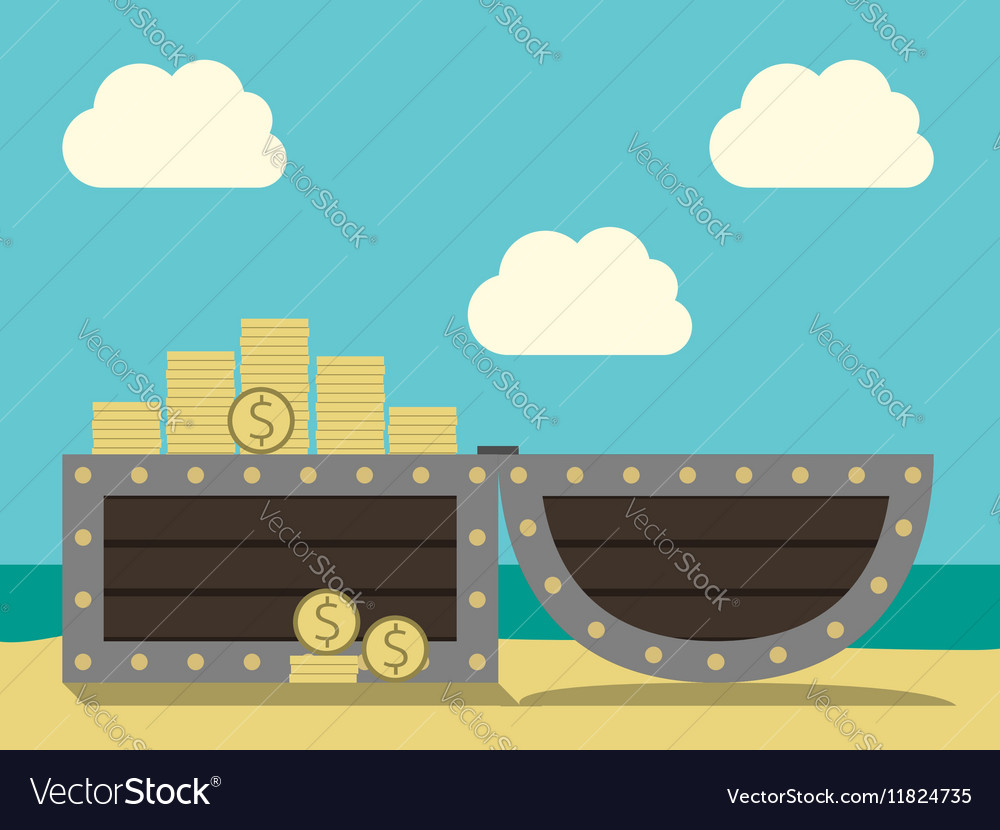 Treasure chest on beach vector image