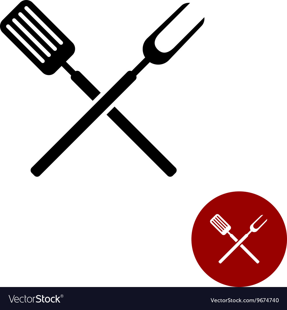 BBQ barbeque tools crossed black simple silhouette